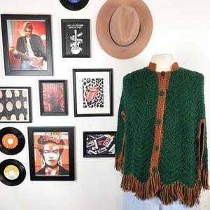 Vintage Knit Tassel Green & Brown Poncho/Cape